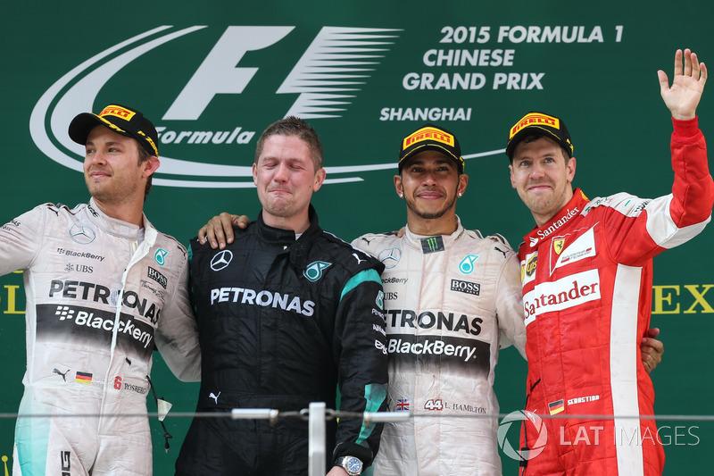 2015: 1. Lewis Hamilton, 2. Nico Rosberg, 3. Sebestian Vettel