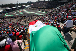 Sergio Perez, Sahara Force India VJM10 and Mexican flag in the grandstand