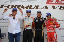 Podium: Race winner and Champion Tom Dillmann, AVF; second place Roy Nissany, Lotus; third place Pietro Fittipaldi, Fortec Motorsports with Adrian Valles