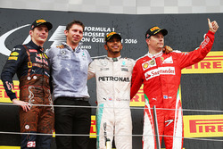 Podium: race winner Lewis Hamilton, Mercedes AMG F1, second place Max Verstappen, Red Bull Racing, third place Kimi Raikkonen, Ferrari