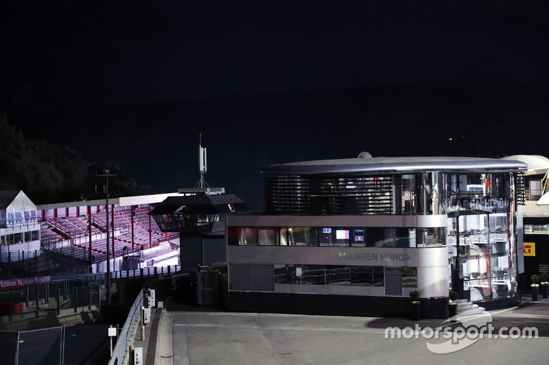 McLaren motorhome at night