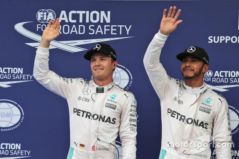 Polesitter Lewis Hamilton, Mercedes AMG F1, second place Nico Rosberg, Mercedes AMG F1