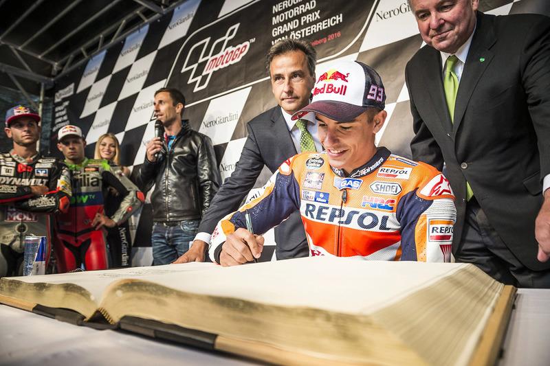 Marc Marquez, Repsol Honda Team signs the golden book of Graz at the MotoGP Parade