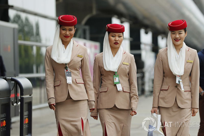 Emirates stewardesses in the paddock