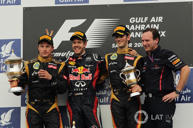 2012: 1. Sebastian Vettel, 2. Kimi Räikkönen, 3. Romain Grosjean