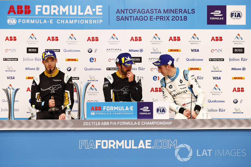 Andre Lotterer, Techeetah, Jean-Eric Vergne, Techeetah, Sébastien Buemi, Renault e.Dams, in the press conference