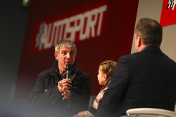 Jason Plato and daughter talk to Henry Hope-Frost on the Autosport Stage
