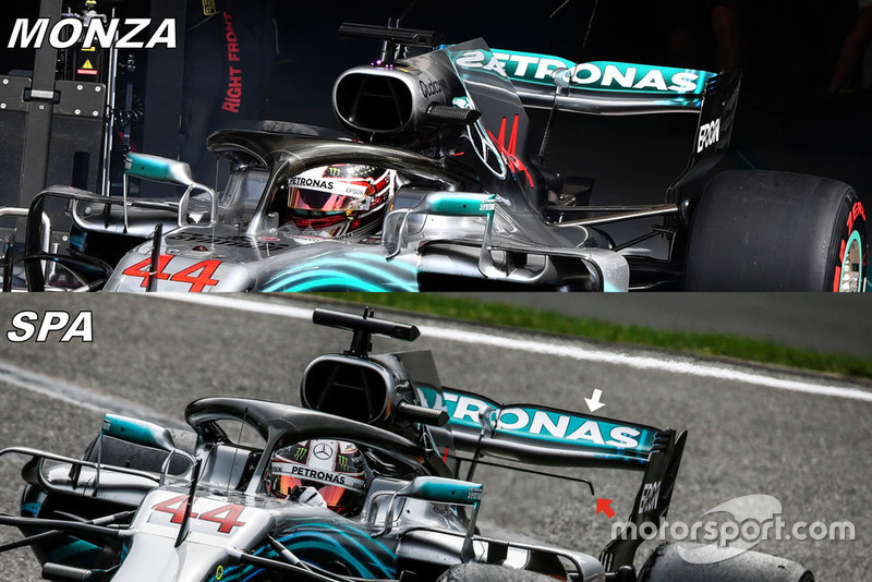 Mercedes W09 rear wing comparison