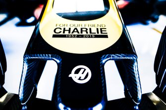 Haas F1 Team nose with Charlie Whiting Memorial graphic
