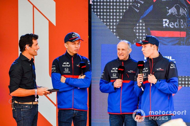 Mark Webber, Alexander Albon, Scuderia Toro Rosso, Franz Tost, Team Principal, Toro Rosso and Daniil Kvyat, Toro Rosso at the Federation Square event