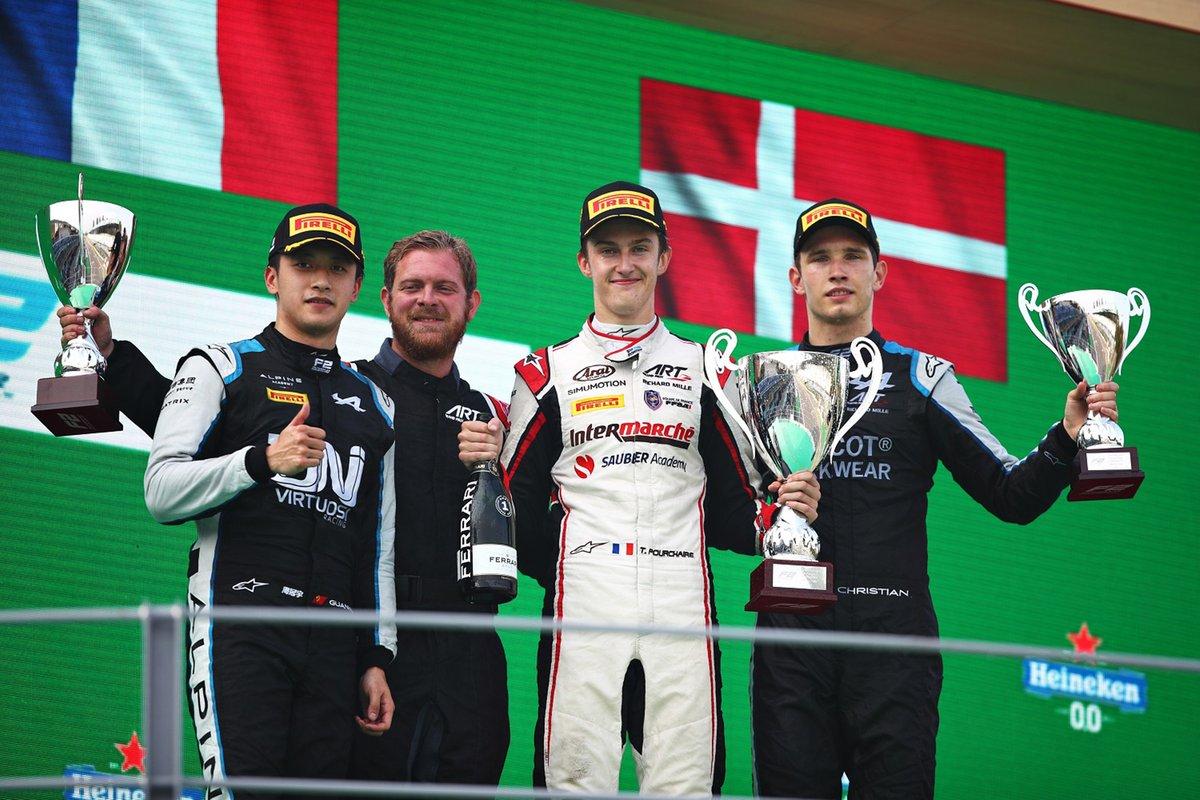 Podium: Race winner Théo Pourchaire, ART Grand Prix, second place Guanyu Zhou, UNI-Vertuosi, third place Christian Lundgaard, ART GRand Prix