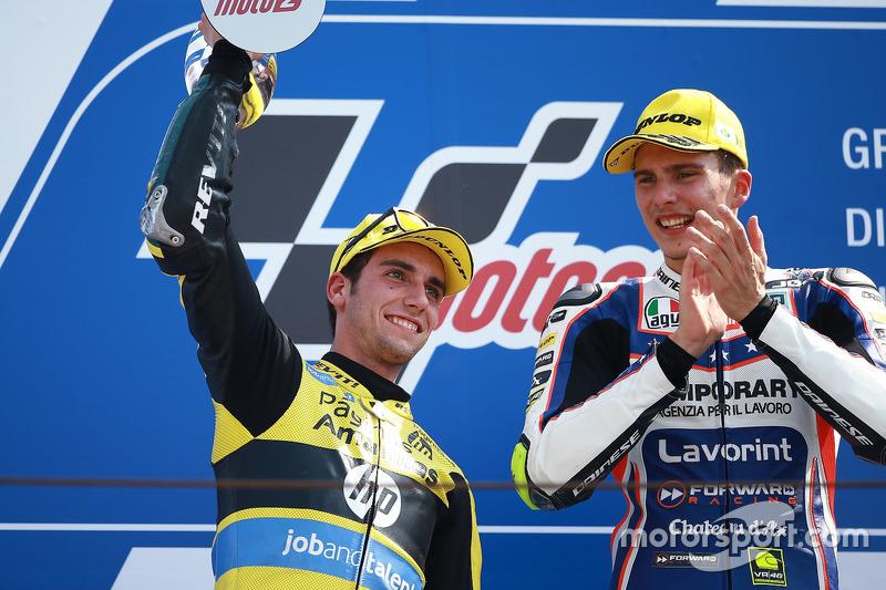 Second place Alex Rins, Paginas Amarillas HP 40, race winner Lorenzo Baldassarri, Forward Racing