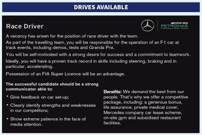 Mercedes AMG F1 sürücü ilanı