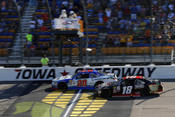 Ryan Preece, Joe Gibbs Racing Toyota drives under the checkered flag to win