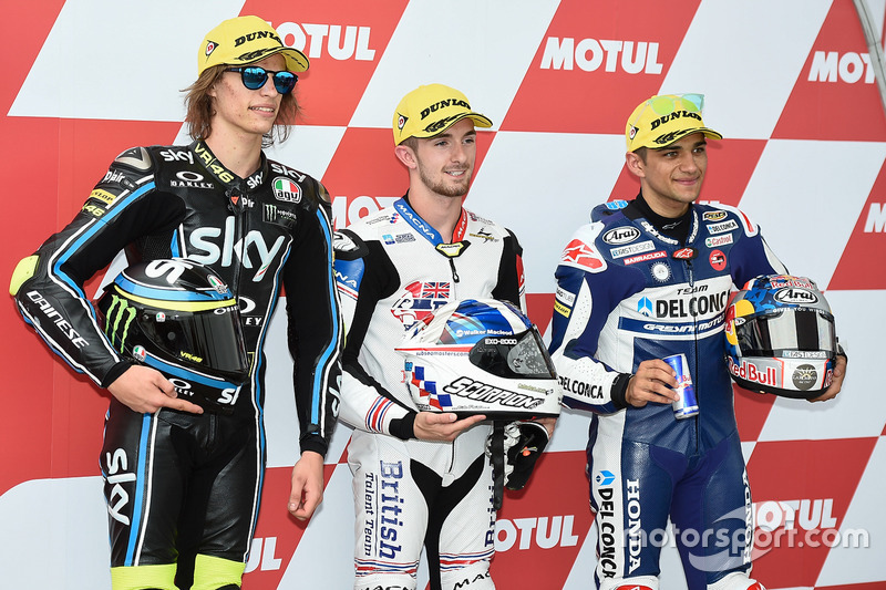 2. Nicolo Bulega, Sky Racing Team VR46; 1. John McPhee, British Talent Team; 3.  Jorge Martin, Del Conca Gresini Racing Moto3