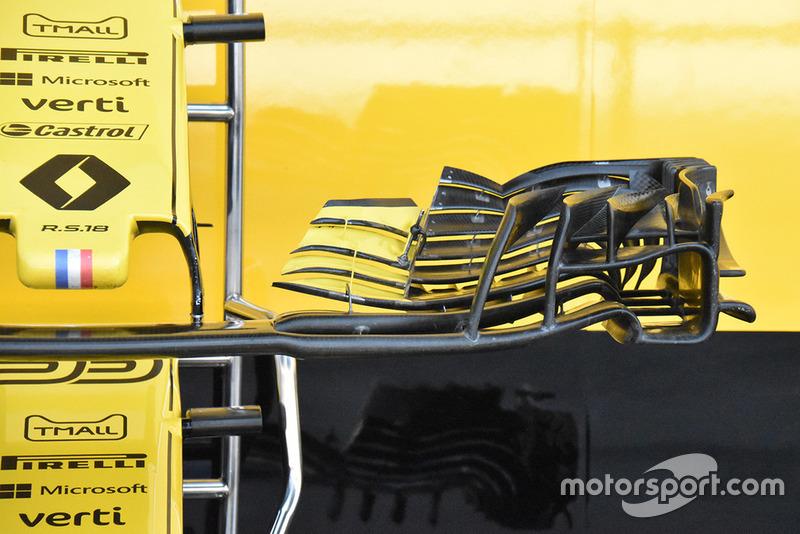 Vue détaillée de l'aileron avant de la Renault F1