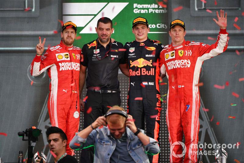 2018: 1. Sebastian Vettel, 2. Max Verstappen, 3. Kimi Raikkonen