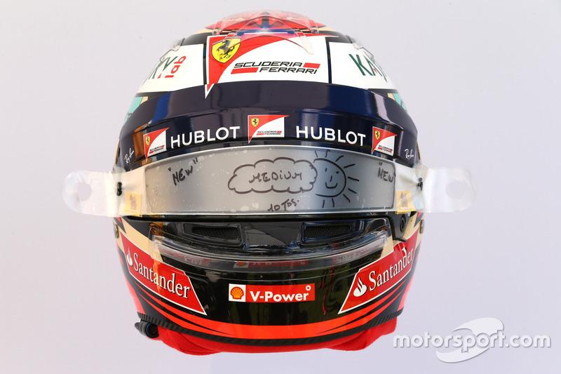 Le casque de Kimi Raikkonen, Ferrari