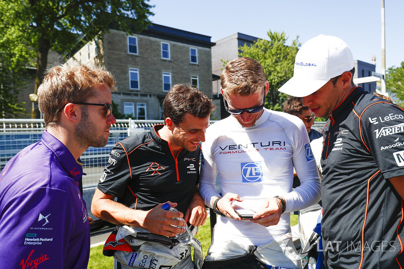 Sam Bird, DS Virgin Racing, Jérôme d'Ambrosio, Dragon Racing, Maro Engel, Venturi, y Loic Duval, Dragon Racing