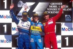 Podium: Race winner Michael Schumacher, Benetton Renault, second placed David Coulthard, Williams Renault
