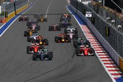 Valtteri Bottas, Mercedes AMG F1 W08  and Sebastian Vettel, Ferrari SF70H