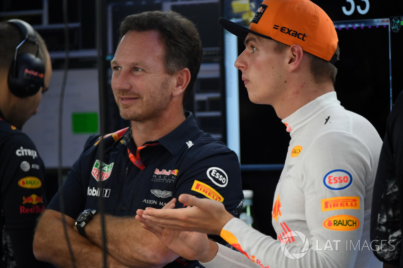 Max Verstappen, Red Bull Racing y Christian Horner, Red Bull Racing director del equipo