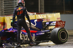 Daniil Kvyat, Scuderia Toro Rosso, climbs out of his car after crashing out