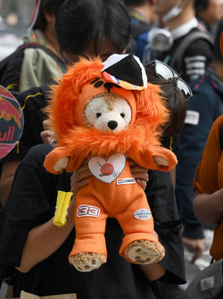 Fans and toy lion