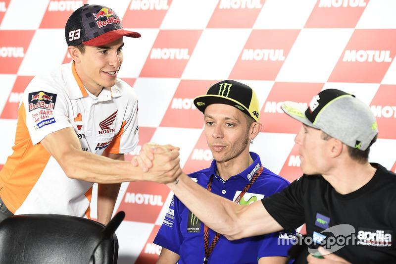 Marc Marquez, Repsol Honda Team, Valentino Rossi, Yamaha Factory Racing, Aleix Espargaro, Aprilia Racing Team Gresini