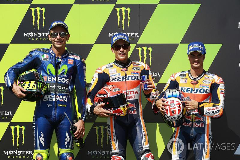 Polesitter Marc Marquez, Repsol Honda Team, second place Valentino Rossi, Yamaha Factory Racing, third place Dani Pedrosa, Repsol Honda Team