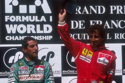 Podium: race winner Alain Prost, Ferrari, second place Ivan Capelli, Leyton House
