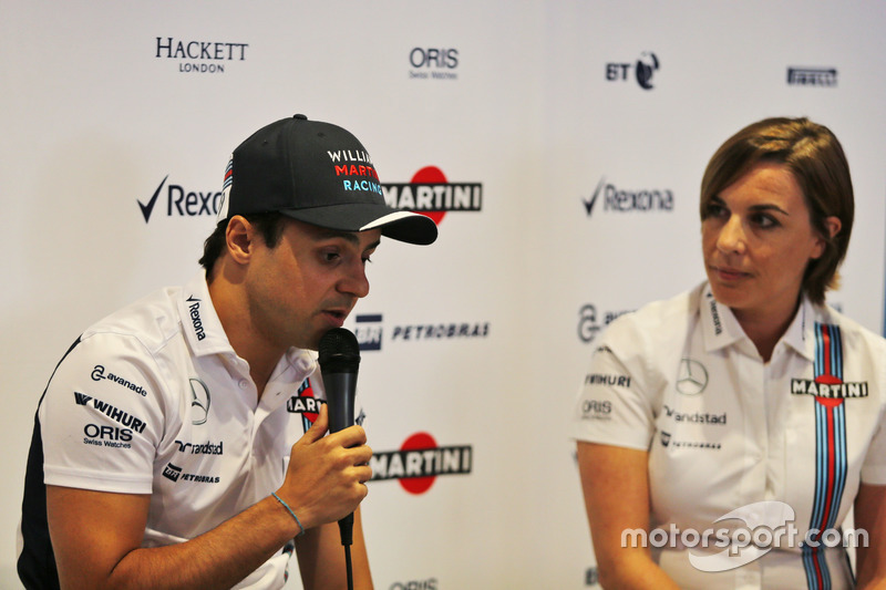 (L to R): Felipe Massa, Williams, announces his retirement from F1 at the end of the season, alongside Claire Williams, Williams Deputy Team Principal