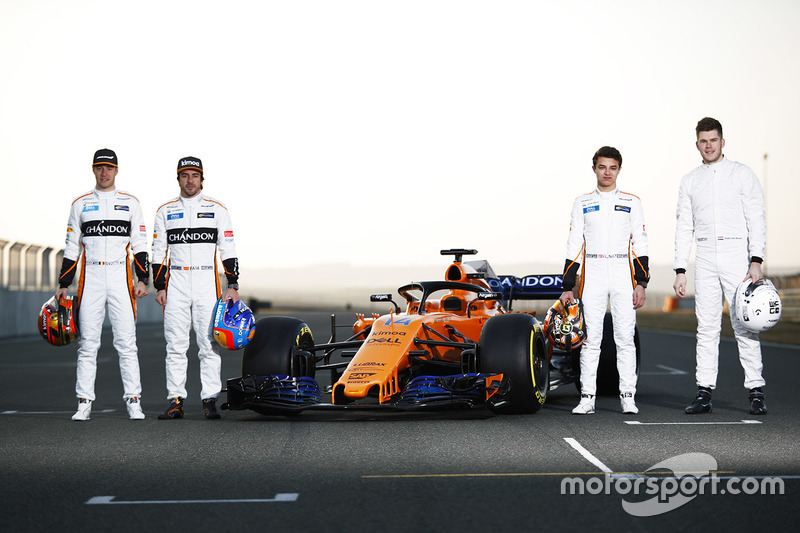 Stoffel Vandoorne, Fernando Alonso, Lando Norris, Rudy van Buren, McLaren