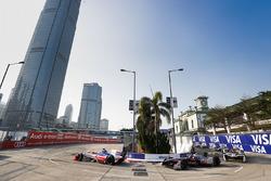 Felix Rosenqvist, Mahindra Racing, leads Edoardo Mortara, Venturi Formula E