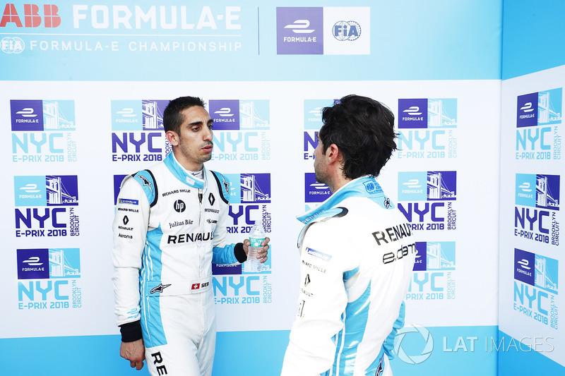 Sébastien Buemi, Renault e.Dams, talks with Nicolas Prost, Renault e.Dams
