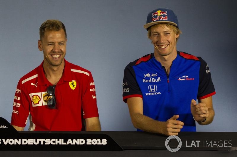 Sebastian Vettel, Ferrari y Pierre Gasly, Scuderia Toro Rosso en rueda de prensa