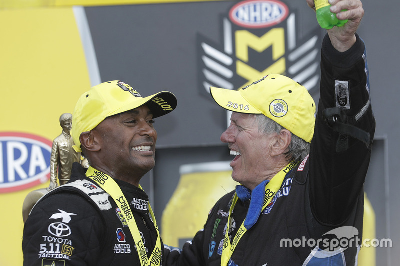 Top Fuel winner Antron Brown and Funny Car winner John Force