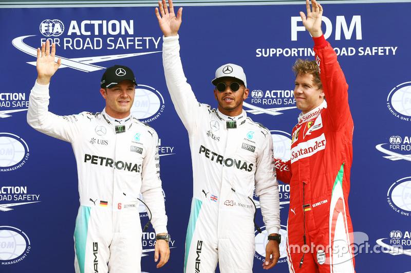 Sıralama turları ilk 3: Nico Rosberg, Mercedes AMG F1, 2.; Lewis Hamilton, Mercedes AMG F1, pole; Sebastian Vettel, Ferrari, 3.