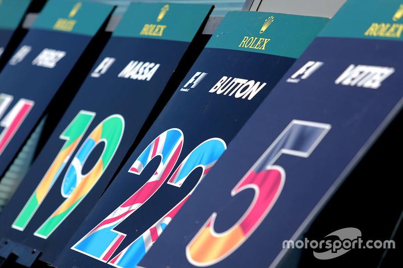 Jenson Button, McLaren pitlane board