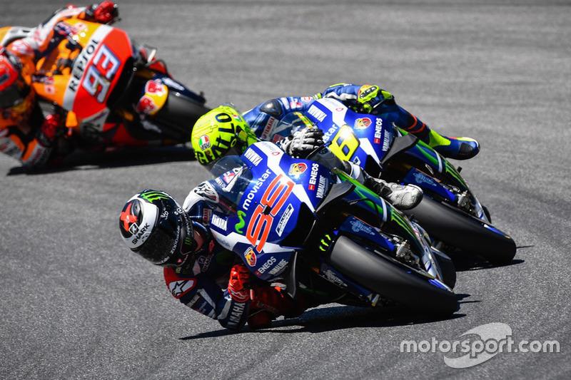 Jorge Lorenzo, Yamaha Factory Racing, Valentino Rossi, Yamaha Factory Racing, und Marc Marquez, Repsol Honda Team