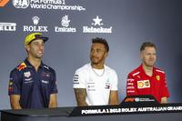 Daniel Ricciardo, Red Bull Racing, Lewis Hamilton, Mercedes AMG F1, and Sebastian Vettel, Ferrari, in the Thursday drivers Press Conference
