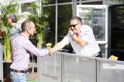 Zak Brown, Executive Director, McLaren Technology Group, with Cyril Abiteboul, Managing Director, Renault Sport F1 Team