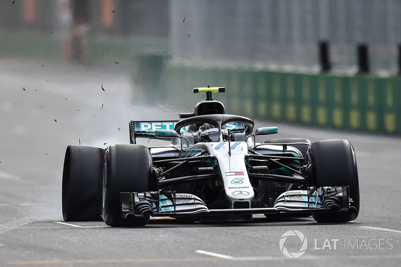 Bottas was in despair after suffering a puncture while leading the race