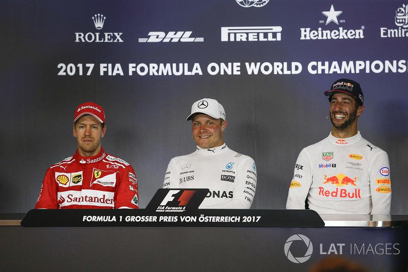 1. Valtteri Bottas, Mercedes AMG F1; 2. Sebastian Vettel, Ferrari; 3. Daniel Ricciardo, Red Bull Racing