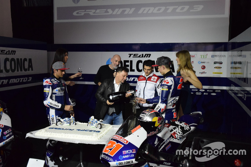 Jorge Martín, Gresini Racing Team y Fabio Di Giannantonio, Gresini Racing Team con Fausto Gresini, T
