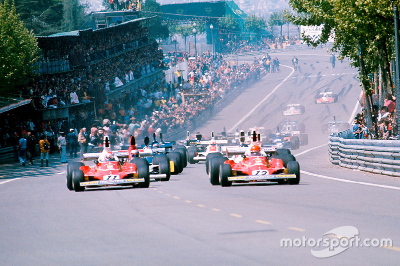 Start: Niki Lauda, Ferrari 312T; Clay Regazzoni, Ferrari 312T; Mario Andretti, Parnelli VPJ4 Ford