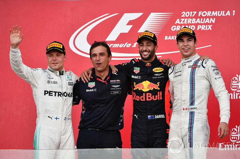 8º Podio del GP de Azerbaiyán 2017 - 2º Valtteri Bottas, Mercedes; 1º Daniel Ricciardo, Red Bull Racing; 3º Lance Stroll, Williams