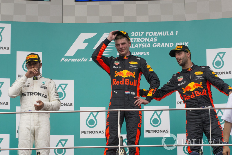 Podium: second place Lewis Hamilton, Mercedes AMG F1, Race winner Max Verstappen, Red Bull Racing, third Daniel Ricciardo, Red Bull Racing