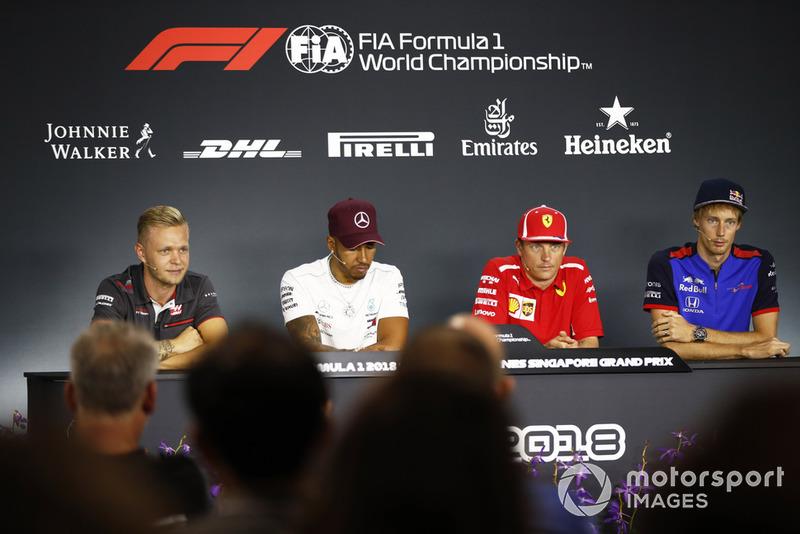 Kevin Magnussen, Haas F1 Team,Lewis Hamilton, Mercedes AMG F1, Kimi Raikkonen, Ferrari, Brendon Hartley, Scuderia Toro Rosso, en conférence de presse