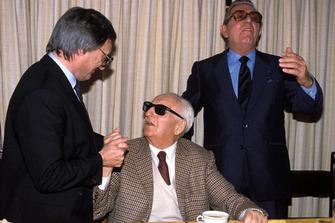 Maranello 1987, Enzo Ferrari, Bernie Ecclestone and Jean Marie Balestre on the day of renewal of the Concorde Agreement